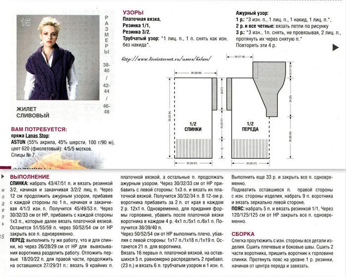 Вязание жилетки спицами для женщин с описанием и схемами 47