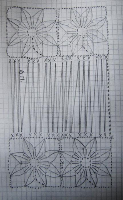 Расход пряжи : 300 г сиреневой и 500 г нежно-сиреневой пряжи. Состав пряжи - акрил средней толщины - 292 м/100г. Ширина палантина - 40 см, длина палантина- 2 метра вместе с кистями. Диаметр цветочного мотива - 5 см. Крючок номер 2.  Палантин состоит из 10 полос связанных между собой цветочных мотивов. В каждой полосе 7 цветочных мотивов. Сначала вывязываем цветочные полосы. Когда все 10 полос будут готовы - начинаем скреплять их между собой, для этого будем вывязывать между полосками В.П на нужную для нас длину, в данном случае по 40 В.П между полосками. Ориентируемся на основную схему, где линиями указаны цепочки из 40 В.П. Когда все полоски будут связаны между собою цепочками В.П - мы оформим край палантина, для этого просто украсим края цветочных полос крупными кистями. Для этого нарежем отрезки длиной около 30 см и сложив пополам проденем внутрь арок цветочных мотивов, и так по всей длине полоски./4291174_yndina_jpg3 (430x700, 243Kb)