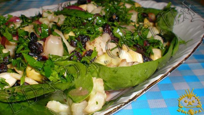Кулинарный рецепт с фотографиями - Теплый салат с цветной капустой.