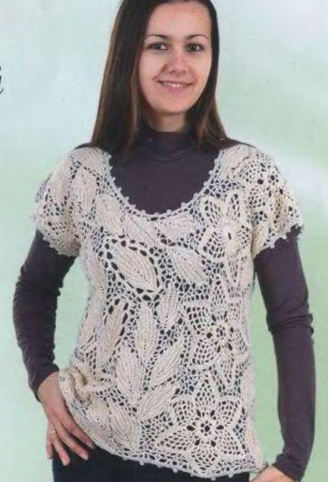 Пуловер Ирландским Кружевом Доставка