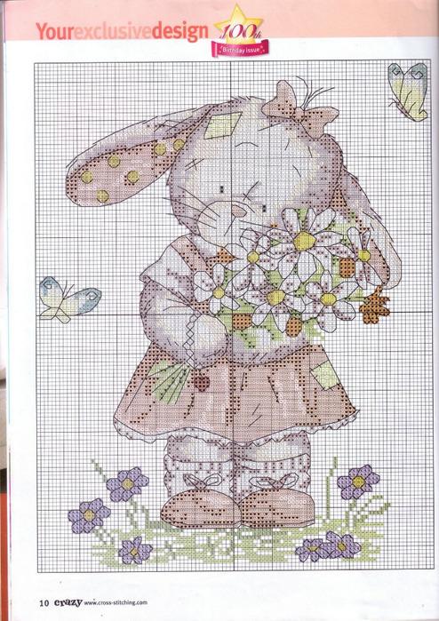 Вышивка крестом: Заяц - Бисероплетение- Схема Зайца ФОТО #1.