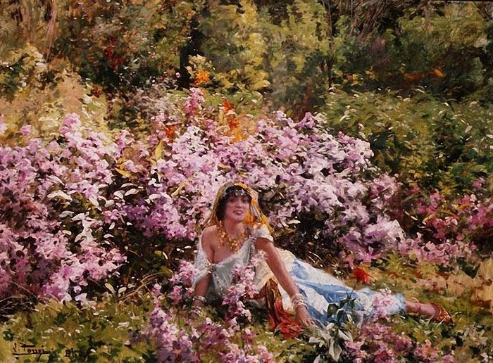 Leon Louis Tanzi Algerian beauty in a lilac field. (700x516, 142Kb)