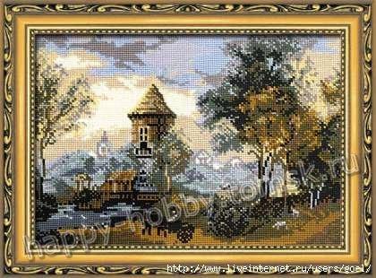 Набор для вышивки крестом Риолис 340 Пейзаж с замком.