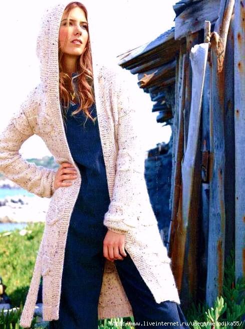 Фотографии пользователя.  Связанное поперёк пальто с косами.  Clara_Ef.