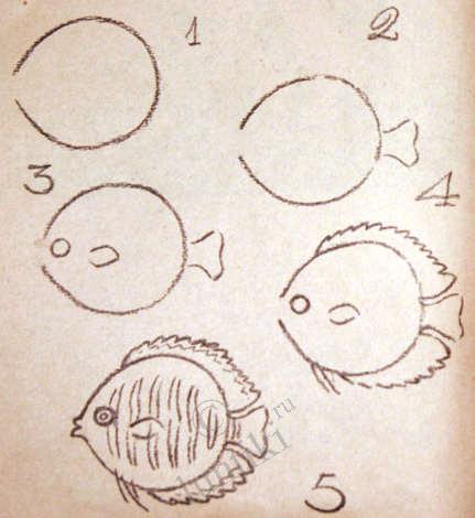 Художников рисуем рыбок поэтапно