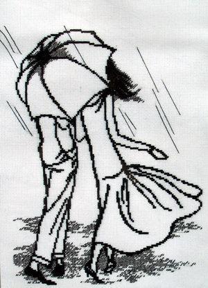 Схема вышивки крестом двое под зонтом