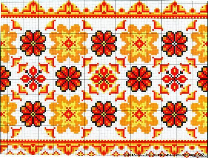 Схемы орнамент для вышивки рушников 199