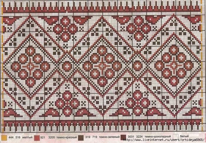 Схемы орнамент для вышивки рушников 184