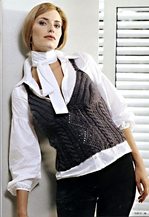 жилеты вязаные спицами, вязание жилетки за модные вязаные женские...