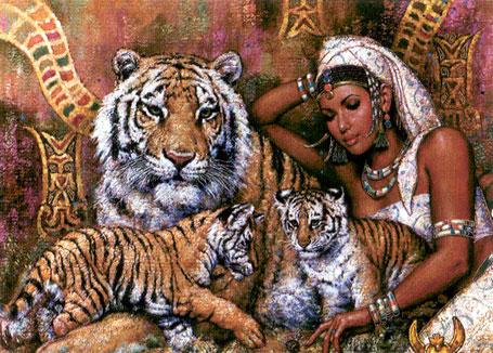 Алмазная вышивка клеопатра с леопардами 80
