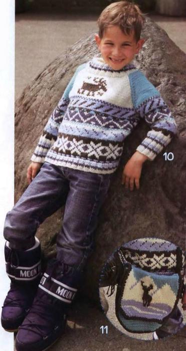 Пуловеры спицами для детей.  Схемы детских пуловеров.