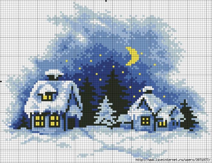 Вышивка крестом зимний вечер схема 979