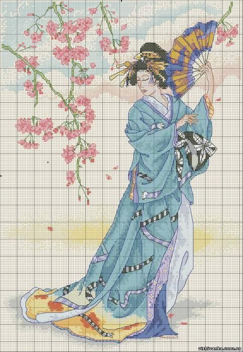 """Схема вышивки  """"Гейша """": таблица цветов."""