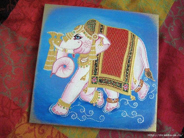 Белый слон, роспись акрилом, автор Shraddh, 1 (700x525, 345Kb)