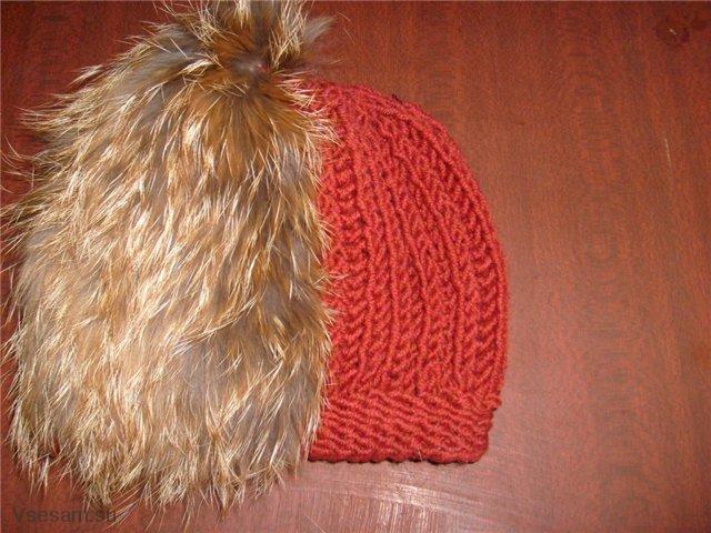 Вязанные шапки из меха
