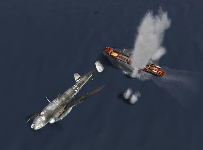 10 CT-Bf-110 атакует корабль (656x485, 108Kb)