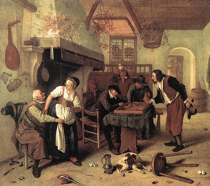 In the Tavern by Jan Steen, 1665 (700x620, 551Kb)