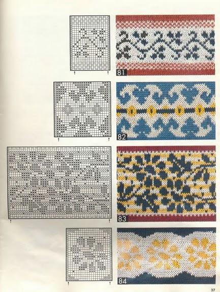Жаккардовые узоры для вязания спицами.  Схемы.