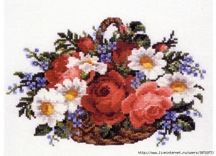 крости схема вышивки триптих голубой цветок