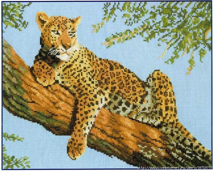 Леопард для вышивки крестом