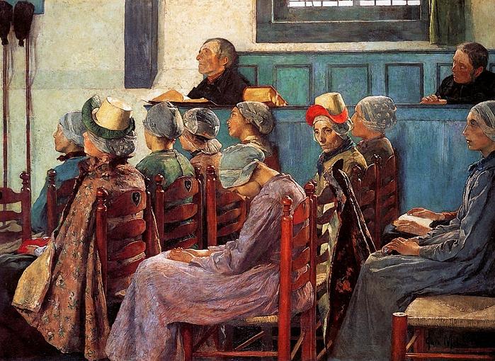 Julius Garibaldi Melchers (, 1860 -1932)-The-sermon-Sun (700x510, 378Kb)