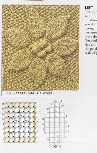 Листья и шишечки, узор. узор вязание спицами сложные большие узоры.