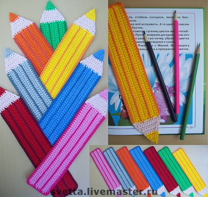 """Закладки для книг ручной работы.  Ярмарка Мастеров - ручная работа  """"Цветные карандаши """" вязаные закладки.  Handmade."""