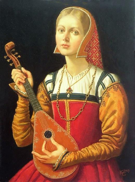 Юлия Бекхова (Julia Bekhova) Лютня, масло на панели (519x700, 292Kb)