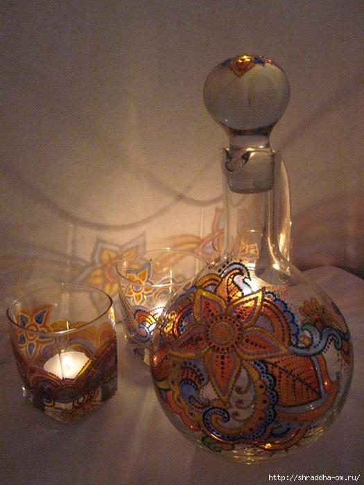 Кувшин и стаканы-подсвечники, Восточная сказка, витраж, акрил, автор Shraddha (30) (525x700, 266Kb)