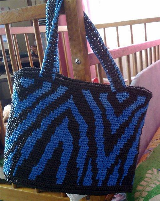 Плетение сумки из пакетов