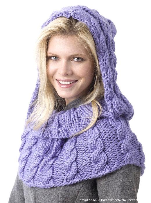 вязаный снуд - Шапка, шарф, рукавички.