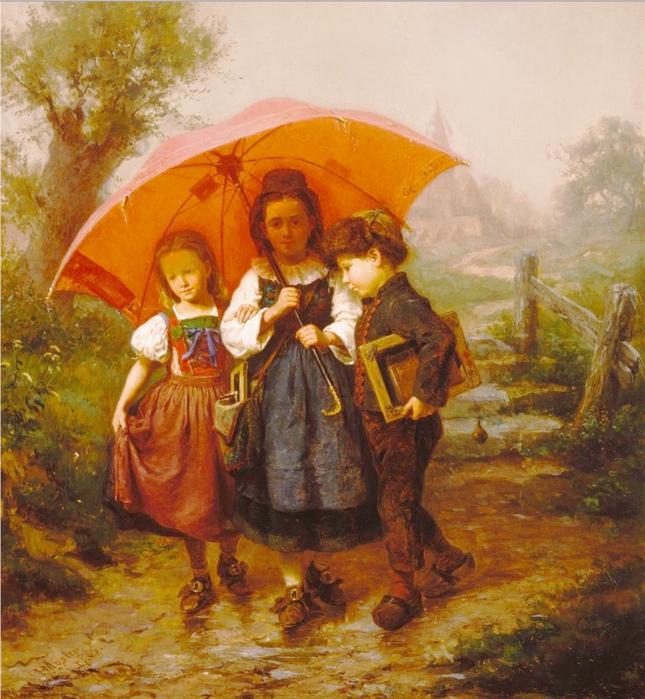 Children under a Red Umbrella, 1865 (645x699, 373Kb)