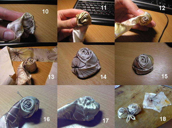 Далее собираем розу