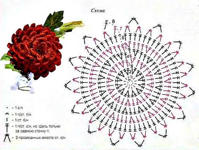 цветы связанные крючком схемы