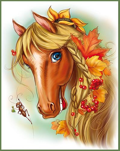 """Схема вышивки  """"Весёлая лошадка """" ."""