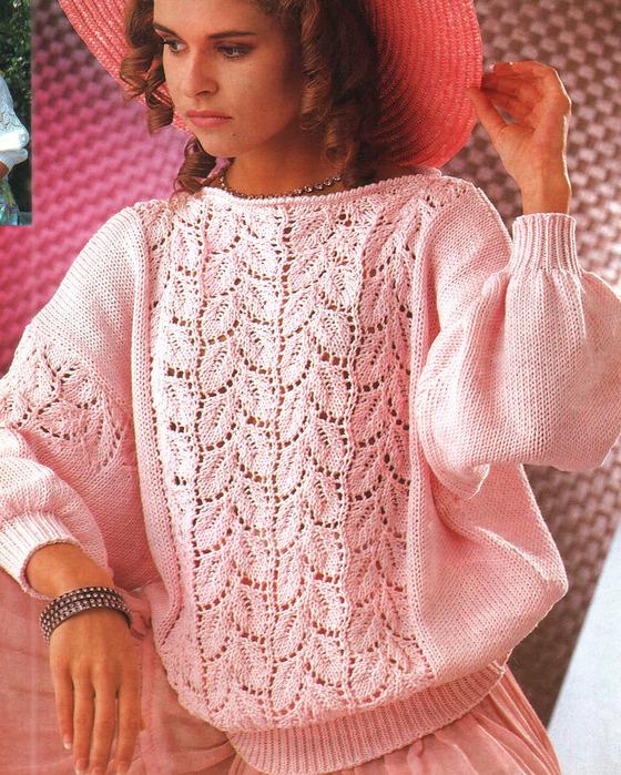 Вязание спицами розовый пуловер 6