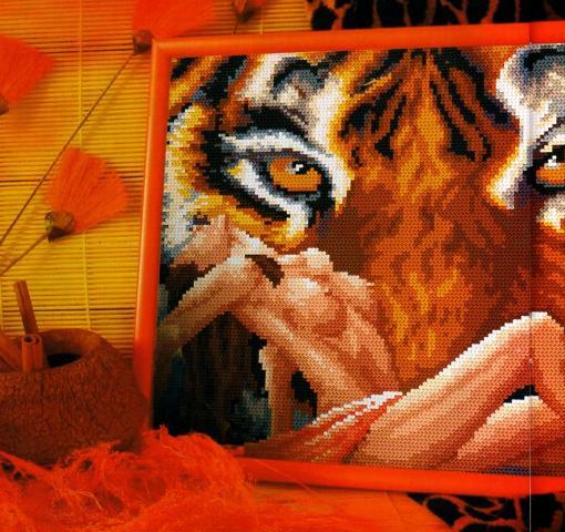 Девушка с тигром вышивка крестом