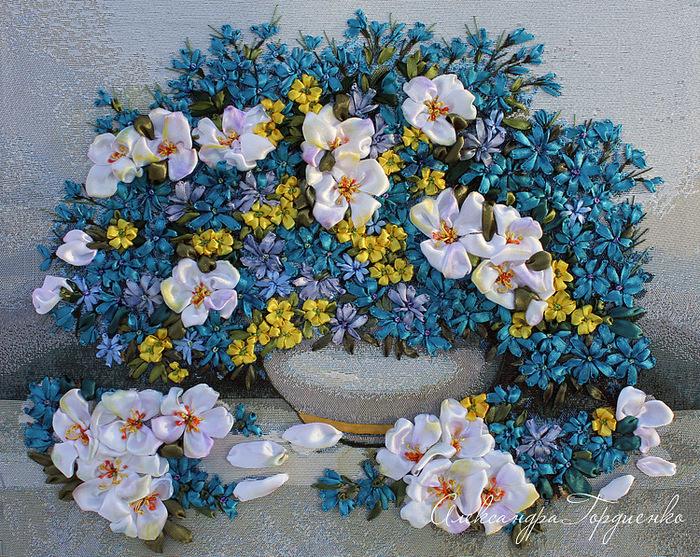 цветы из лент мастер класс фото пошагово