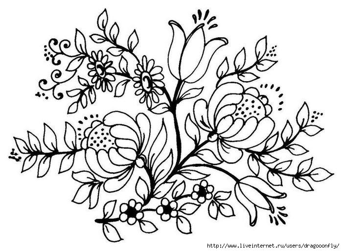Цветы картинки эскизы 8