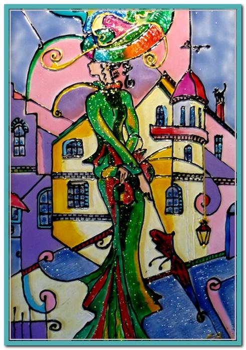 Дама с зонтом (491x700, 205Kb)