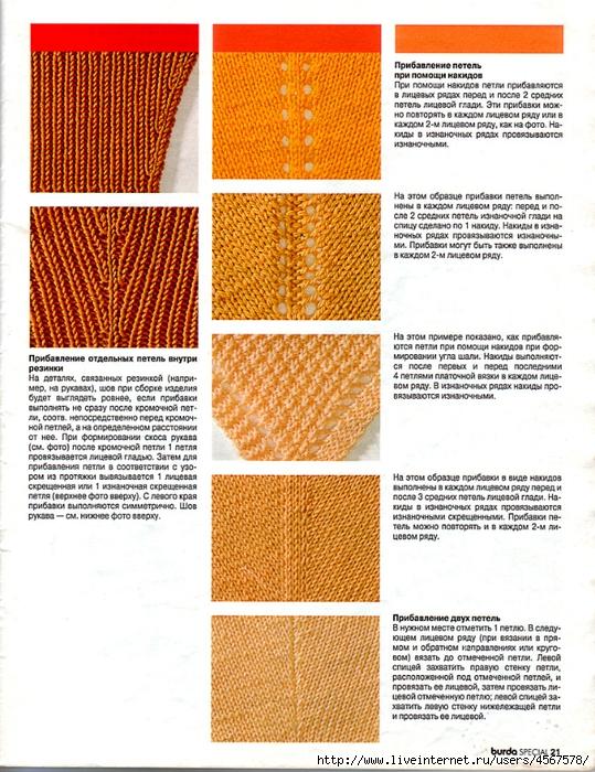 Убавление петлей при вязании спицами