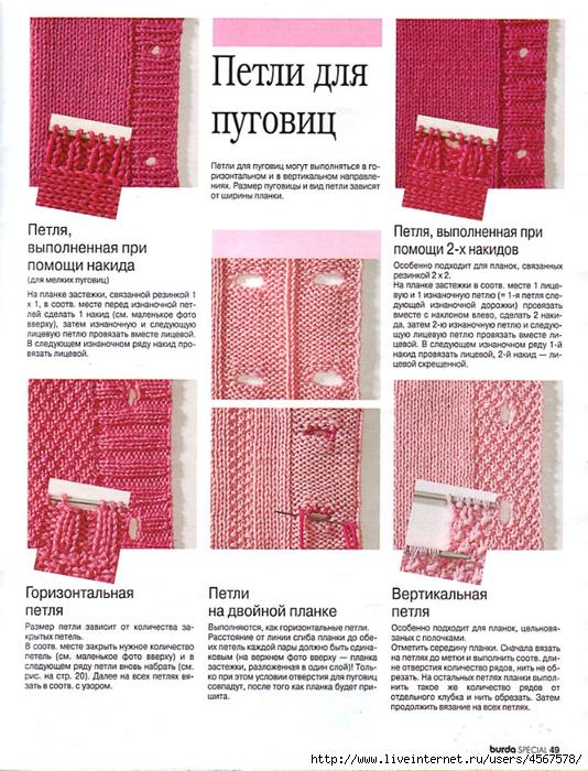 Планки для вязания кофты спицами 743