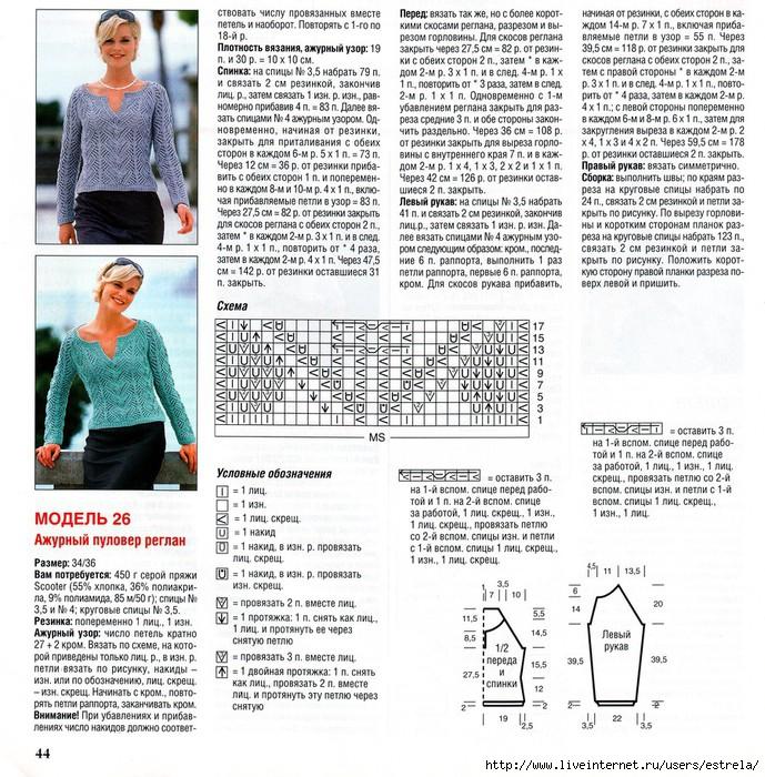 Вязание рукава для женского свитера