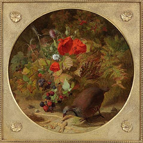 The Four Seasons Autumn – Partridge with Wheat, Raspberries and Poppies (478x480, 52Kb)