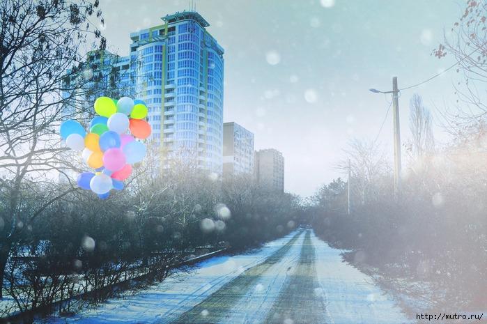 город зима, шарики ололо