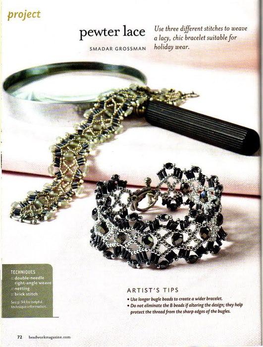 Широкий ажурный браслет и схема плетения к нему.