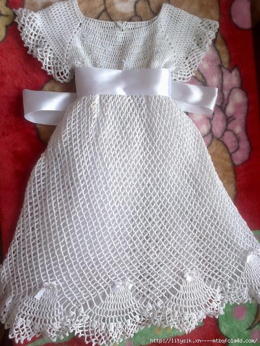 Крестильное платье крючком для