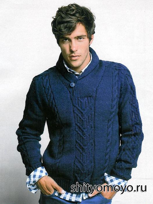 мужской пуловер с воротником-шалькой.  На спицах оставалось 78-84-90-96 п. http://shityomoyo.ru/posts/vazanie...