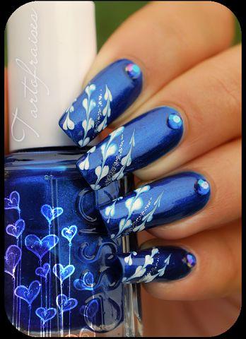 Рисунки на ногтях синим цветом