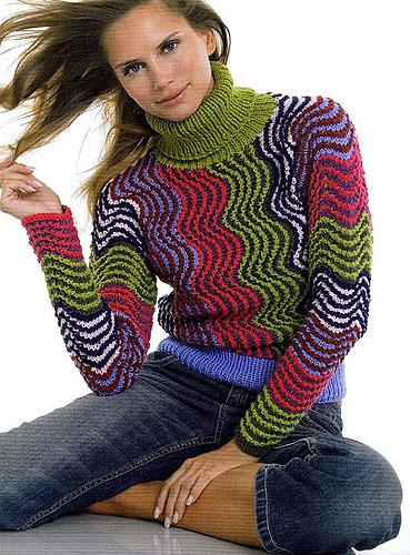 многоцветное вязание спицами